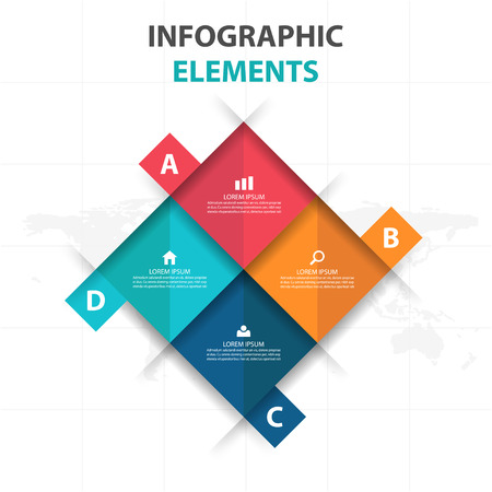 design: Abstract 4 square business Infographics elements, presentation template flat design vector illustration for web design marketing advertising