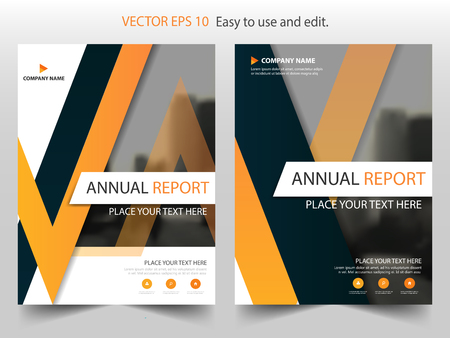 annual: Orange black triangle Brochure annual report Leaflet Flyer template design, book cover layout design, abstract business presentation template, a4 size design