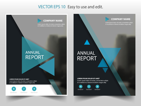 Blue triangle Vector annual report Leaflet Brochure Flyer template design, book cover layout design, abstract business presentation template, a4 size design