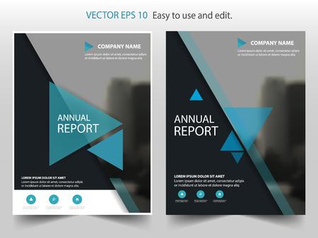 Blauwe driehoek Vector jaarverslag Brochure Brochure Sjabloon ontwerp, boekomslag layout ontwerp, abstract business presentation template, a4 formaat ontwerp Stock Illustratie