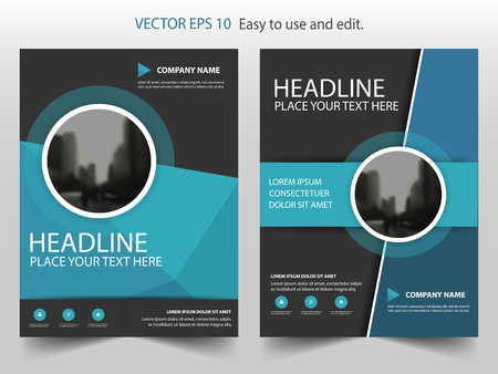 Blue black circle annual report Leaflet Brochure Flyer template design, book cover layout design, abstract business presentation template, a4 size design Illustration