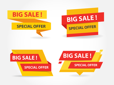 web background: Yellow and red shopping sale banner label template, discount sale banner collection set