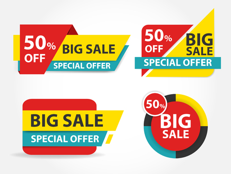 web background: Blue red yellow shopping sale banner label template, discount sale banner collection set
