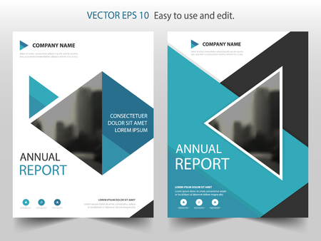 Blue Triangle Brochure annual report Leaflet Flyer template design, book cover layout design, abstract business presentation template, a4 size design