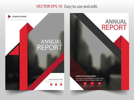design template: Red Triangle Brochure annual report Leaflet Flyer template design, book cover layout design, abstract business presentation template, a4 size design Illustration