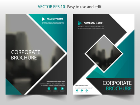 Green square Vector Brochure annual report Leaflet Flyer template design, book cover layout design, abstract business presentation template, a4 size design