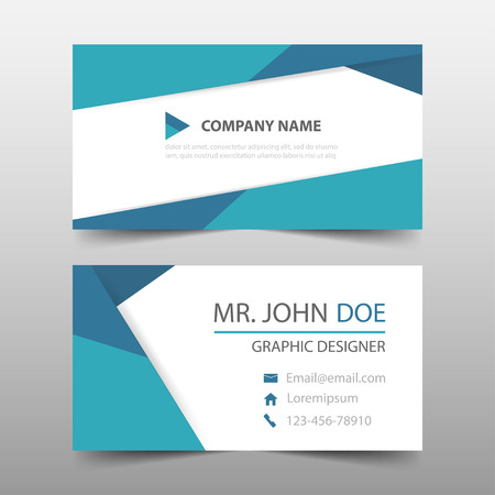 青い三角形企業のビジネス カード、名刺テンプレート、水平のシンプルなきれいなレイアウトのデザイン テンプレート、ビジネス バナー テンプレ  イラスト・ベクター素材