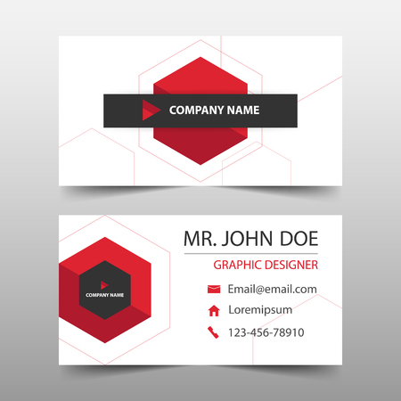 Red hexagon corporate business card name card template horizontal red hexagon corporate business card name card template horizontal simple clean layout design template accmission Gallery