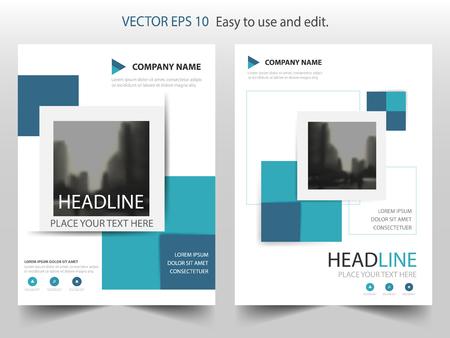 Informe anual cuadrado abstracto azul Vector de plantilla de diseño de folleto.