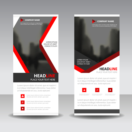 rollup: Red label roll up business brochure flyer banner design , cover presentation abstract geometric background, modern publication x-banner and flag-banner, layout in rectangle size. Illustration