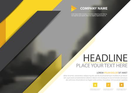 Geel zwart driehoeks de dekking vectorontwerp van de bedrijfsbrochurevlieger, Pamflet die abstracte achtergrond adverteren, Modern de lay-outmalplaatje van het affichemagazijn, Horizontaal jaarverslag voor presentatie. Stock Illustratie