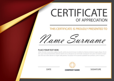 stock certificate: Red gold Elegance horizontal certificate with Vector illustration ,white frame certificate template with clean and modern pattern presentation