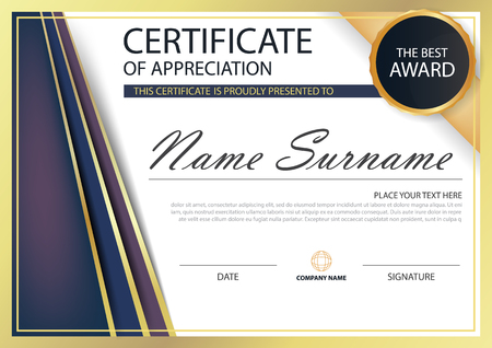 stock certificate: Purple gold Elegance horizontal certificate with Vector illustration ,white frame certificate template with clean and modern pattern presentation