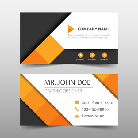 Orange square corporate business card name card template orange square corporate business card name card template horizontal simple clean layout design template flashek Images