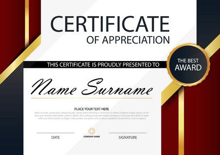 Red Elegance horizontale Zertifikat mit Vektor-Illustration, White Frame Zertifikat Vorlage mit sauberen und modernen Muster Präsentation Standard-Bild - 81761684
