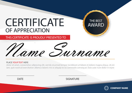 Blue red Elegance horizontal certificate with Vector illustration ,white frame certificate template with clean and modern pattern presentation 矢量图像