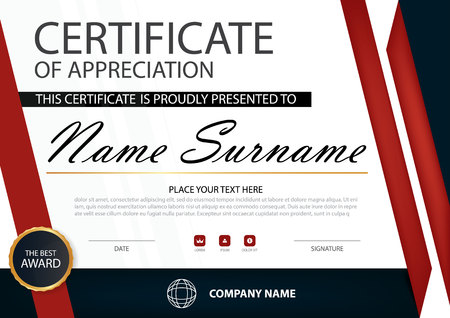stock certificate: Red Elegance horizontal certificate with Vector illustration ,white frame certificate template with clean and modern pattern presentation