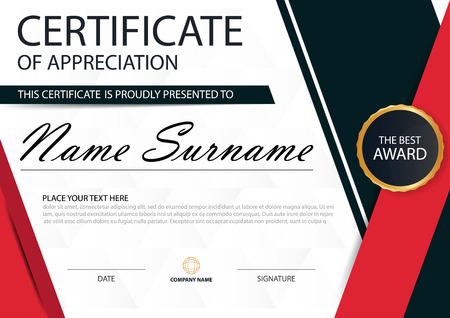 stock certificate: Red black Elegance horizontal certificate with Vector illustration. Illustration