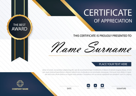 stock certificate: Blue Elegance horizontal certificate with Vector illustration ,white frame certificate template with clean and modern pattern presentation