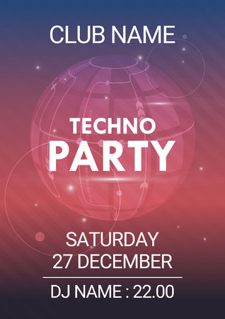 Music party EDM sound poster. Electronic club fun music. Musical event disco trance sound. Night party invitation. DJ flyer poster.