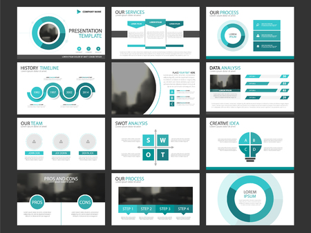Business presentation infographic elements template set, annual report corporate horizontal brochure design template. Ilustração