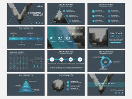 Business presentation infographic elements template set, annual report corporate horizontal brochure design template. 일러스트