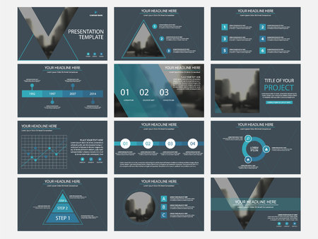 Business presentation infographic elements template set, annual report corporate horizontal brochure design template. Vettoriali