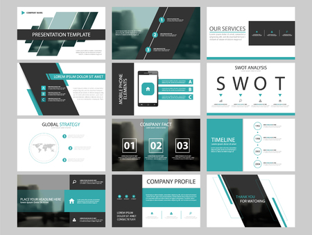 Business presentation infographic elements template set, annual report corporate horizontal brochure design template Illustration