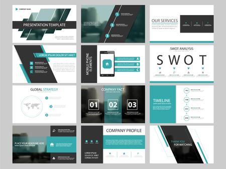Business presentation infographic elements template set, annual report corporate horizontal brochure design template Vettoriali