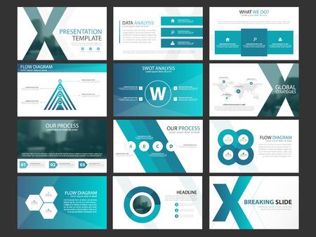 Business presentation infographic elements template set, annual report corporate horizontal brochure design template 일러스트
