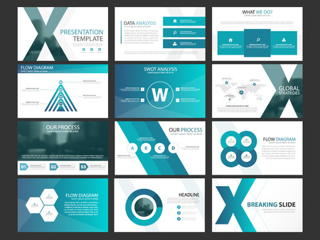 Business presentation infographic elements template set, annual report corporate horizontal brochure design template 向量圖像