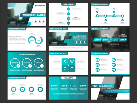 Business presentation infographic elements template set, annual report corporate horizontal brochure design template Çizim
