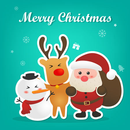 Merry Christmas and Happy New Year with cute Santa Claus snowman and reindeer with Christmas icon background design. Illustration