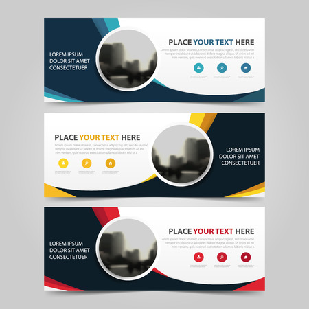 Corporate business banner template, horizontal advertising business banner layout template flat design set , clean abstract cover header background for website design Çizim