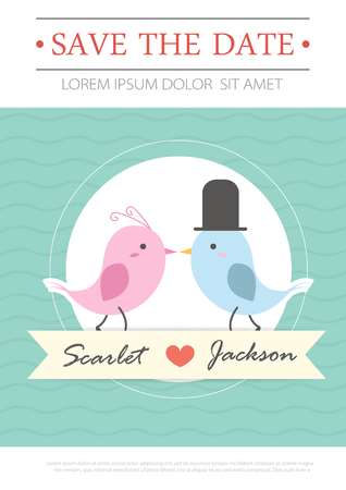 Wedding invitation card template vector illustration wedding vector wedding invitation card template vector illustration wedding invitation card editable with background chevron font type save the date bird stopboris Images