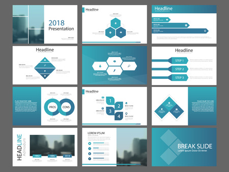 Bundle infographic elements presentation template. business annual report, brochure, leaflet, advertising flyer, corporate marketing banner Stock Illustratie