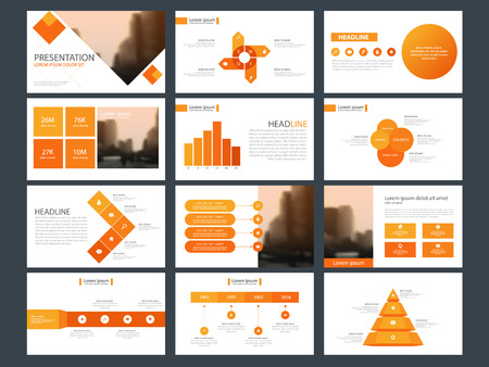 Orange Bundle infographic elements presentation template. Vector illustration. 向量圖像