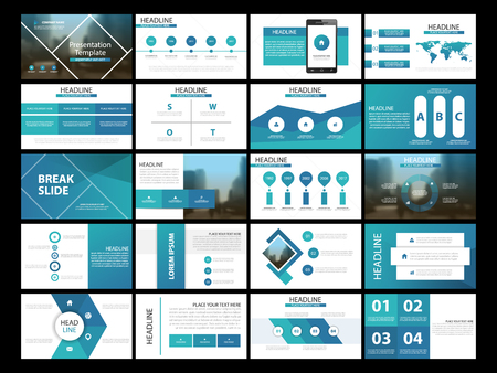 20 Blue Bundle infographic elements presentation template. business annual report, brochure, leaflet, advertising flyer, corporate marketing banner Vettoriali