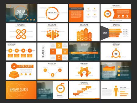 Orange Abstract presentation templates, Infographic elements template flat design set for annual report brochure flyer leaflet marketing advertising banner template Stock Illustratie