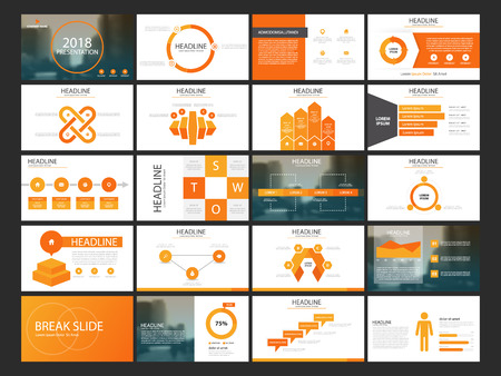 Orange Abstract presentation templates, Infographic elements template flat design set for annual report brochure flyer leaflet marketing advertising banner template 向量圖像