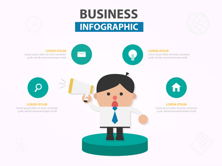 Businessman cartoon with megaphone infographic template design for website , businessman character meeting presentation slide 向量圖像