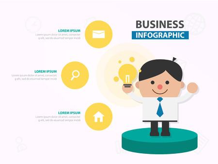 Businessman cartoon show his ideas infographic template design for website , businessman character meeting presentation slide 向量圖像