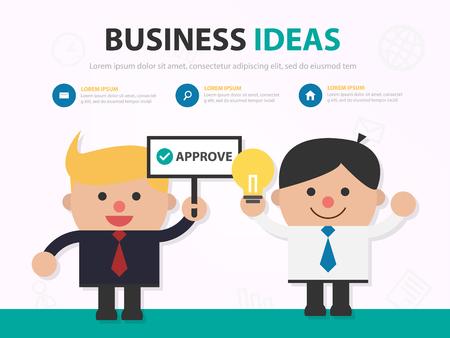 Businessman cartoon presentation approving work infographic template design for website , businessman character meeting presentation slide