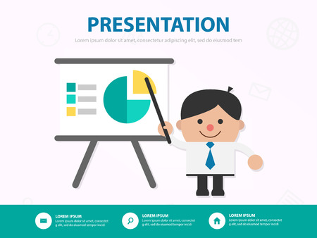 Businessman cartoon presentation meeting infographic template design for website , businessman character presentation template 向量圖像