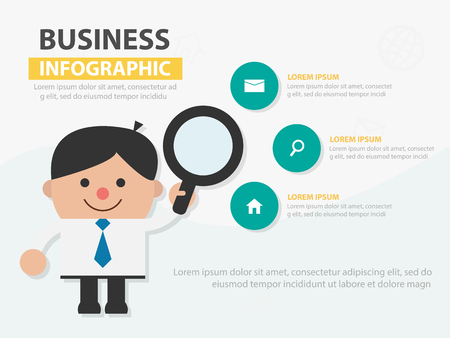 Businessman cartoon holding magnifying glass infographic template design for website , businessman character presentation template