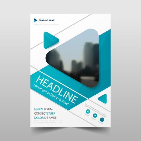 Blue triangle annual report Leaflet Brochure Flyer template design, book cover layout design, abstract business presentation template, a4 size design
