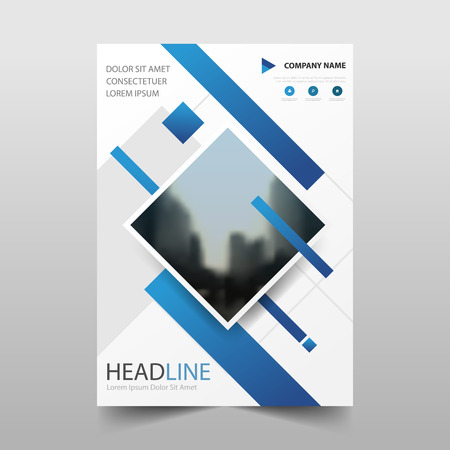 Informe anual cuadrado azul Folleto Folleto Flyer diseño de plantilla, diseño de portada de libro, plantilla de presentación de negocio abstracto, diseño de tamaño a4