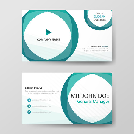 Green circle corporate business card, name card template ,horizontal simple clean layout design template , Business banner template 向量圖像