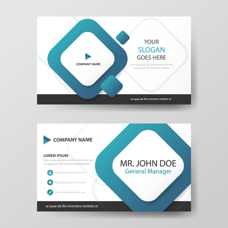 Blue square corporate business card, name card template ,horizontal simple clean layout design template , Business banner template