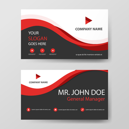 Red corporate business card, name card template ,horizontal simple clean layout design template , Business banner template 向量圖像
